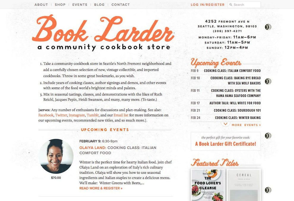 Book Larder home page in 2011