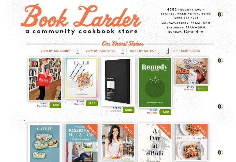 Book Larder website in 2013