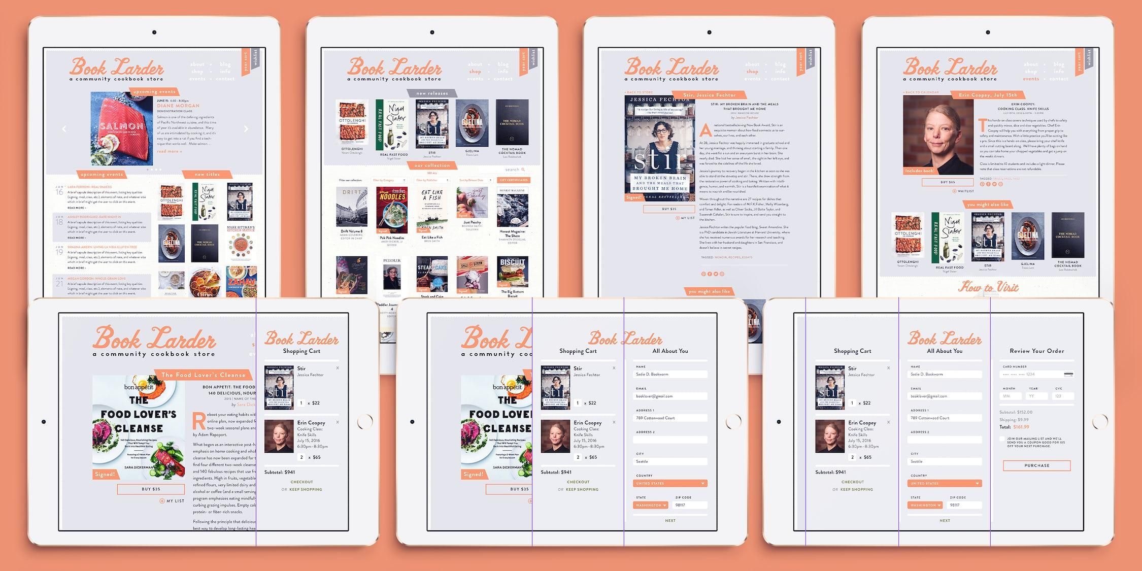 Book Larder's 2020 UX designs