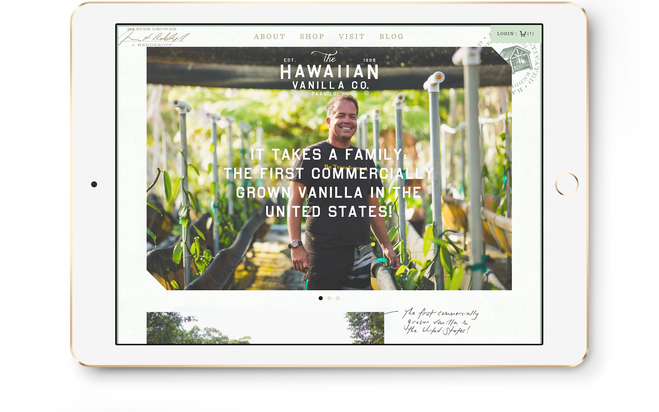 Hawaiian Vanilla Co's platform on an iPad